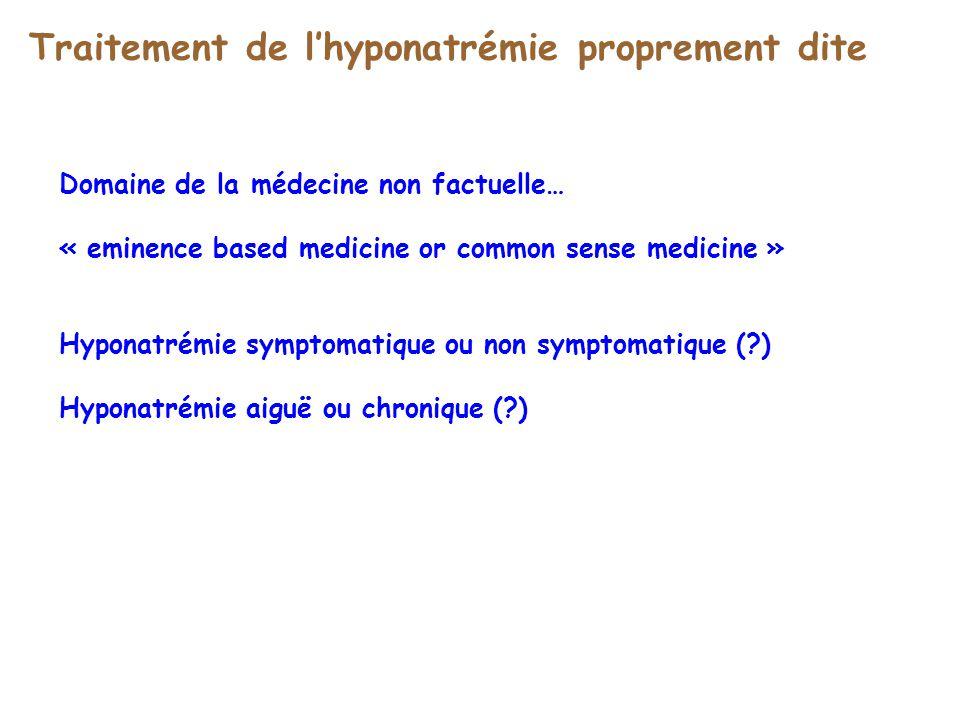 Traitement de lhyponatrémie proprement dite Domaine de la médecine non factuelle… « eminence based medicine or common sense medicine » Hyponatrémie sy