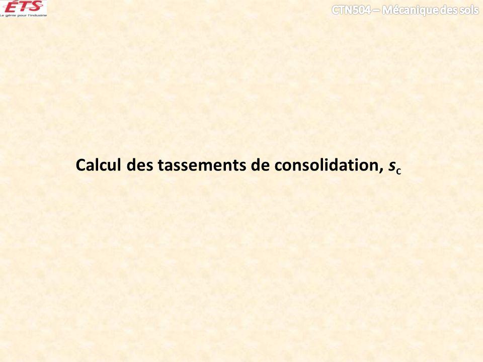 Calcul des tassements de consolidation, s c