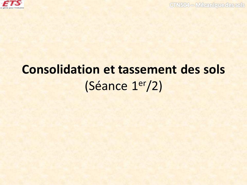 Consolidation et tassement des sols (Séance 1 er /2)