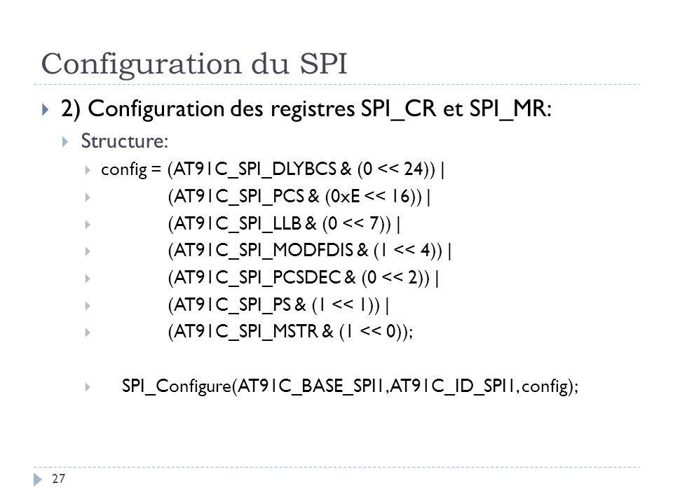 Configuration du SPI 27 2) Configuration des registres SPI_CR et SPI_MR: Structure: config = (AT91C_SPI_DLYBCS & (0 << 24))   (AT91C_SPI_PCS & (0xE <<