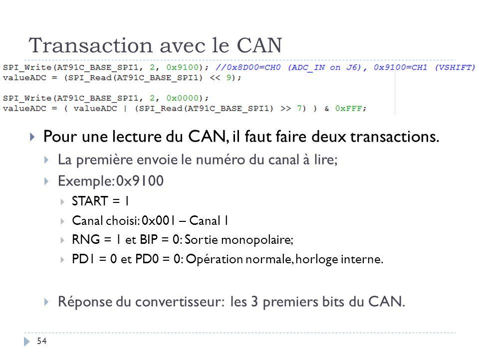 Transaction avec le CAN 54 Pour une lecture du CAN, il faut faire deux transactions. La première envoie le numéro du canal à lire; Exemple: 0x9100 STA