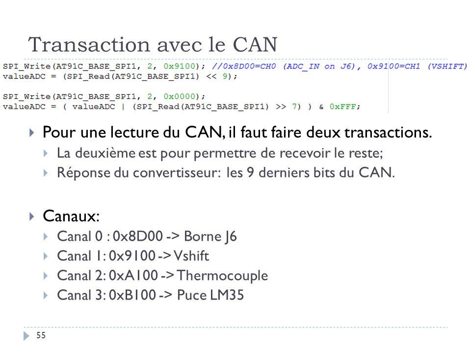 Transaction avec le CAN 55 Pour une lecture du CAN, il faut faire deux transactions. La deuxième est pour permettre de recevoir le reste; Réponse du c