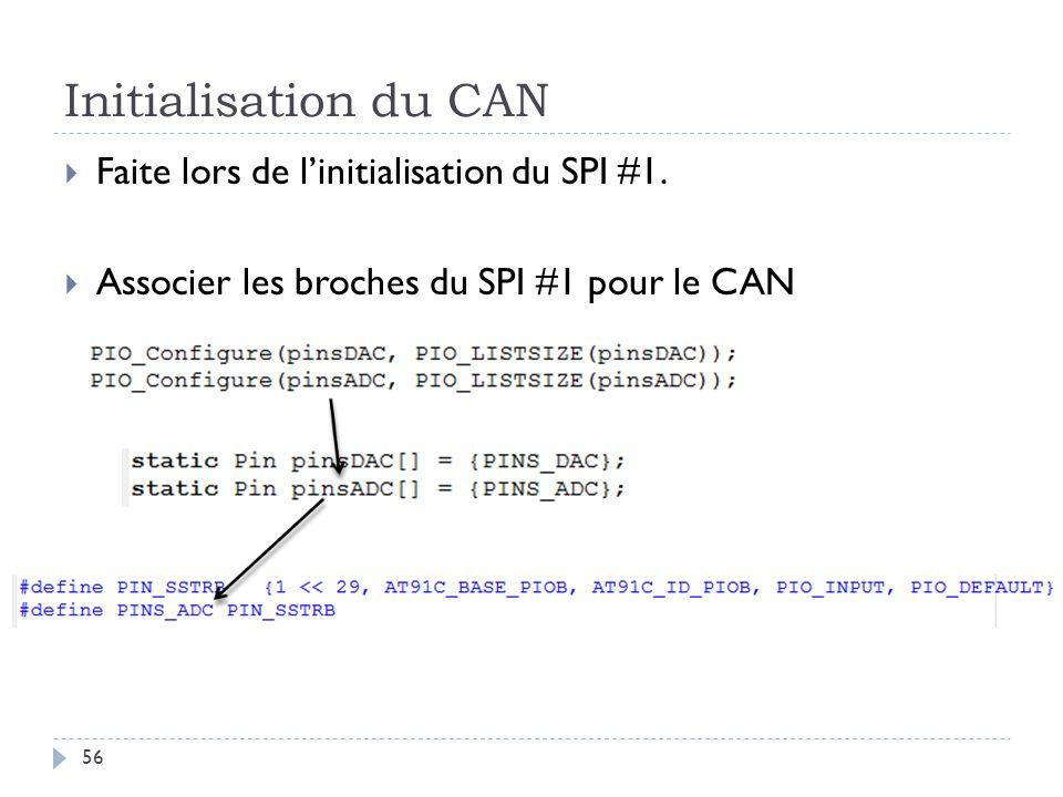 Initialisation du CAN 56 Faite lors de linitialisation du SPI #1. Associer les broches du SPI #1 pour le CAN