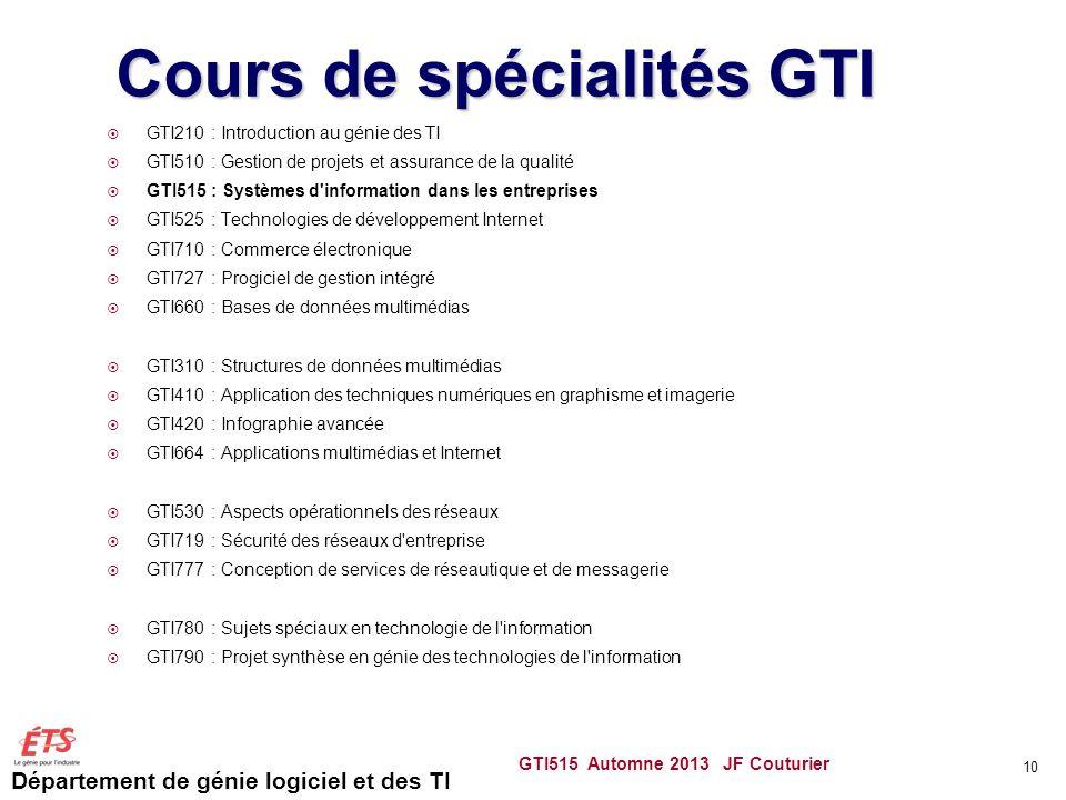 Département de génie logiciel et des TI GTI515 Automne 2013 JF Couturier 10 Cours de spécialités GTI GTI210 : Introduction au génie des TI GTI510 : Ge