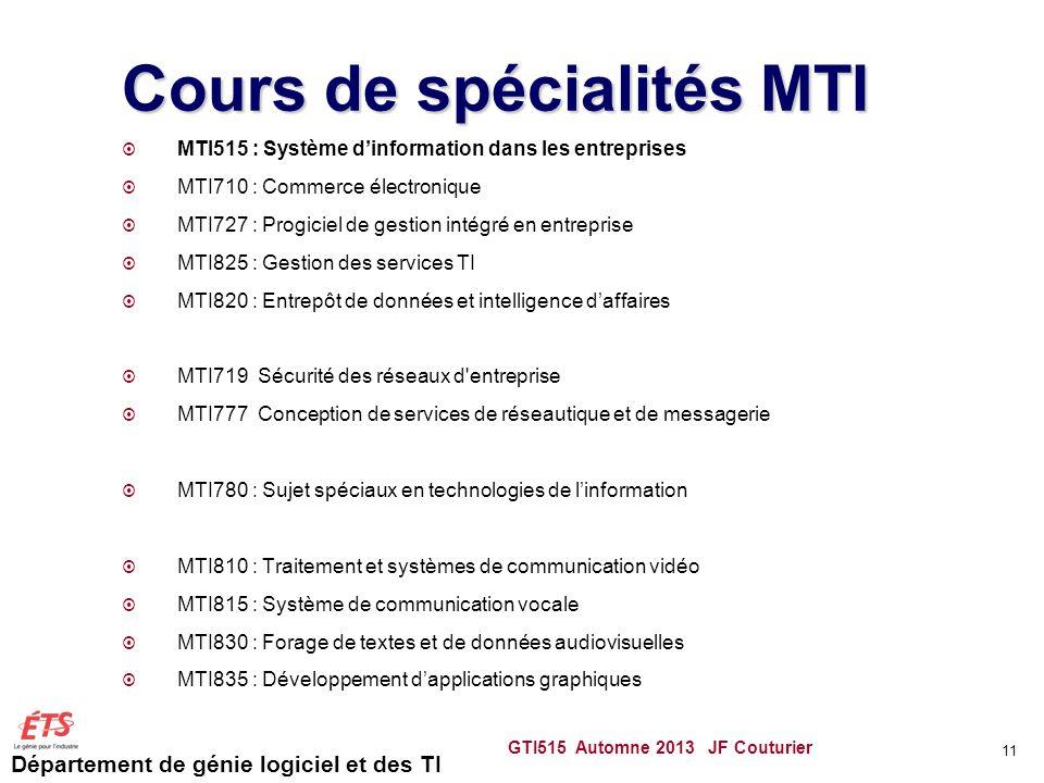 Département de génie logiciel et des TI Cours de spécialités MTI MTI515 : Système dinformation dans les entreprises MTI710 : Commerce électronique MTI