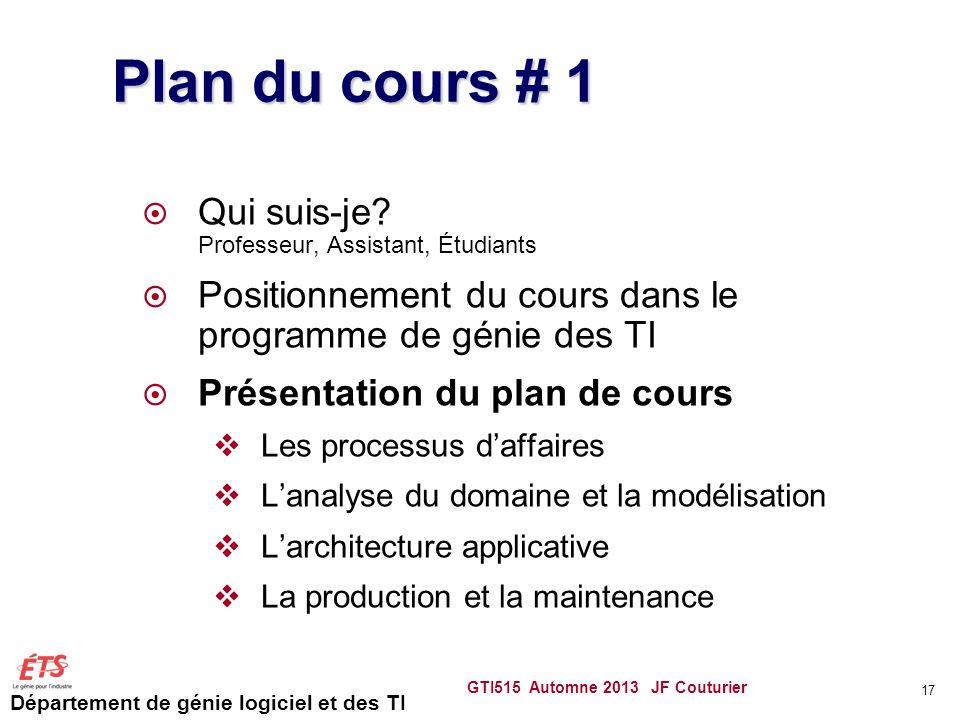 Département de génie logiciel et des TI GTI515 Automne 2013 JF Couturier 17 Plan du cours # 1 Qui suis-je? Professeur, Assistant, Étudiants Positionne