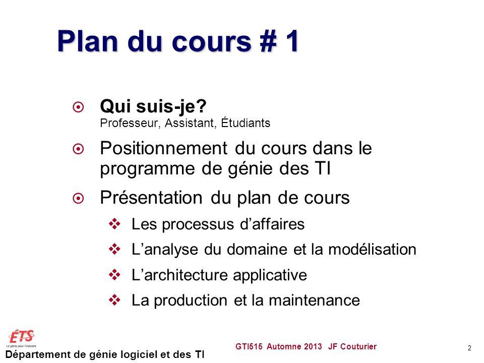 Département de génie logiciel et des TI GTI515 Automne 2013 JF Couturier 2 Plan du cours # 1 Qui suis-je? Professeur, Assistant, Étudiants Positionnem