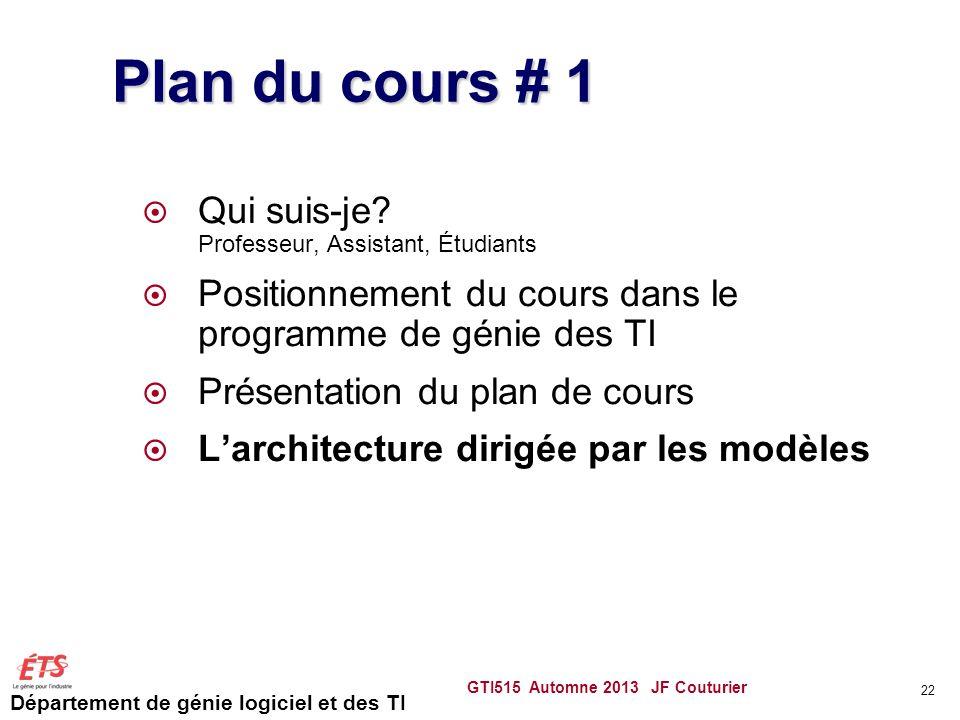 Département de génie logiciel et des TI GTI515 Automne 2013 JF Couturier 22 Plan du cours # 1 Qui suis-je? Professeur, Assistant, Étudiants Positionne
