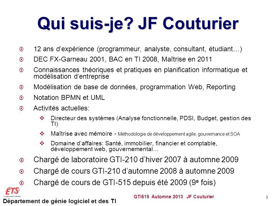 Département de génie logiciel et des TI GTI515 Automne 2013 JF Couturier 3 Qui suis-je? JF Couturier 12 ans dexpérience (programmeur, analyste, consul