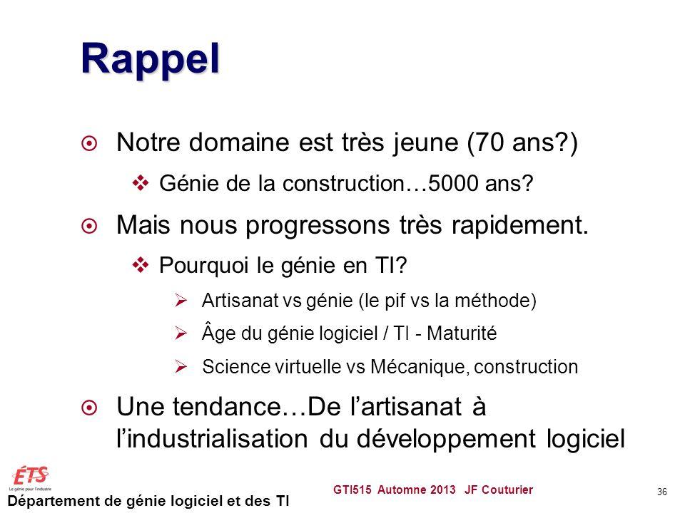 Département de génie logiciel et des TI Rappel Notre domaine est très jeune (70 ans?) Génie de la construction…5000 ans? Mais nous progressons très ra