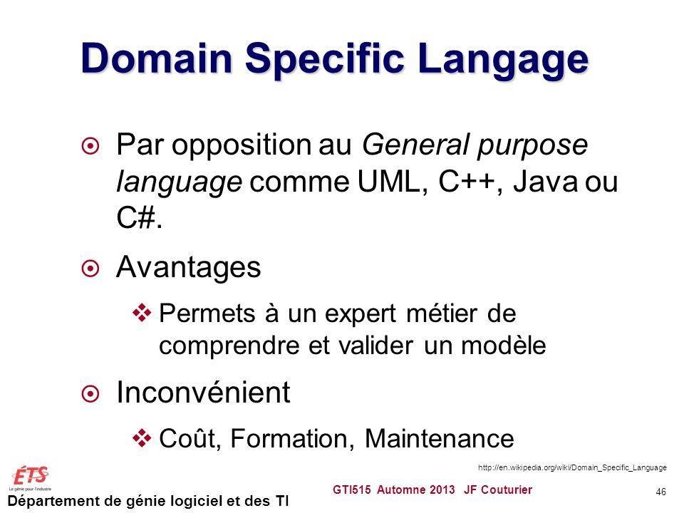 Département de génie logiciel et des TI Domain Specific Langage Par opposition au General purpose language comme UML, C++, Java ou C#. Avantages Perme