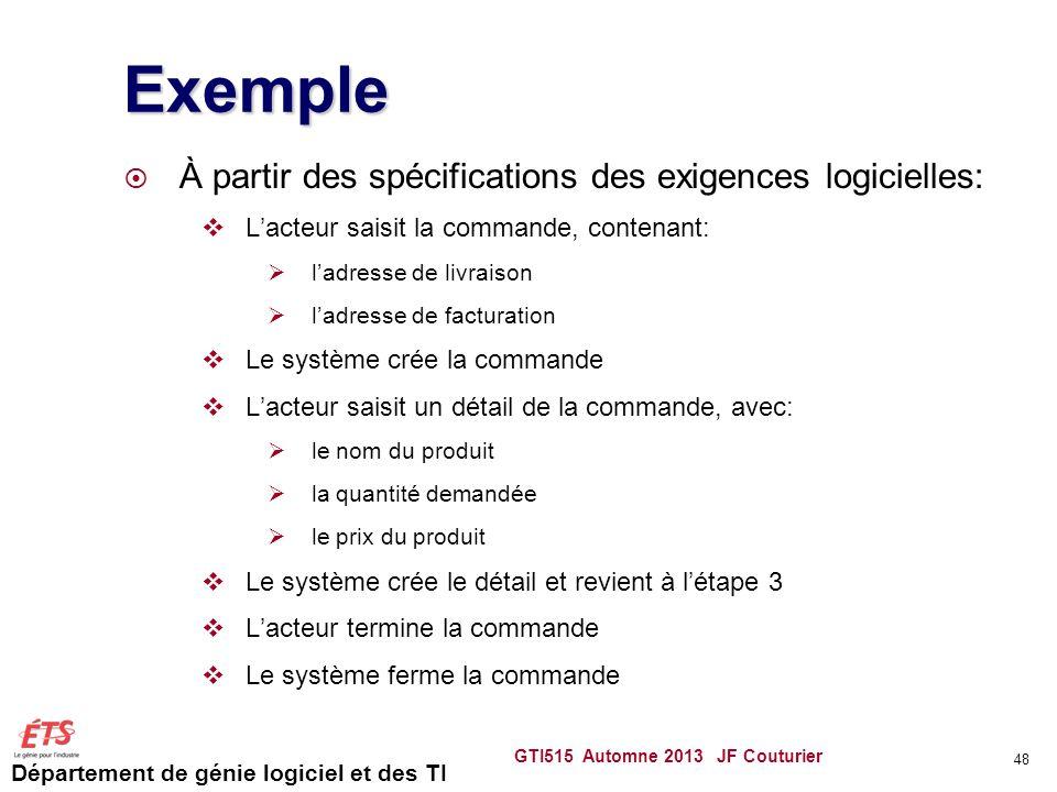 Département de génie logiciel et des TI Exemple À partir des spécifications des exigences logicielles: Lacteur saisit la commande, contenant: ladresse