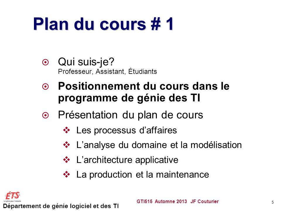 Département de génie logiciel et des TI GTI515 Automne 2013 JF Couturier 5 Plan du cours # 1 Qui suis-je? Professeur, Assistant, Étudiants Positionnem