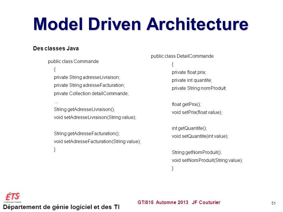 Département de génie logiciel et des TI Model Driven Architecture GTI515 Automne 2013 JF Couturier 51 Des classes Java public class Commande { private