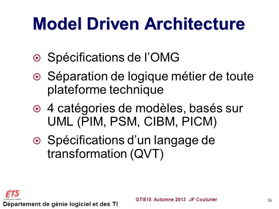 Département de génie logiciel et des TI Model Driven Architecture Spécifications de lOMG Séparation de logique métier de toute plateforme technique 4