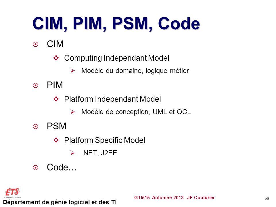 Département de génie logiciel et des TI CIM, PIM, PSM, Code CIM Computing Independant Model Modèle du domaine, logique métier PIM Platform Independant