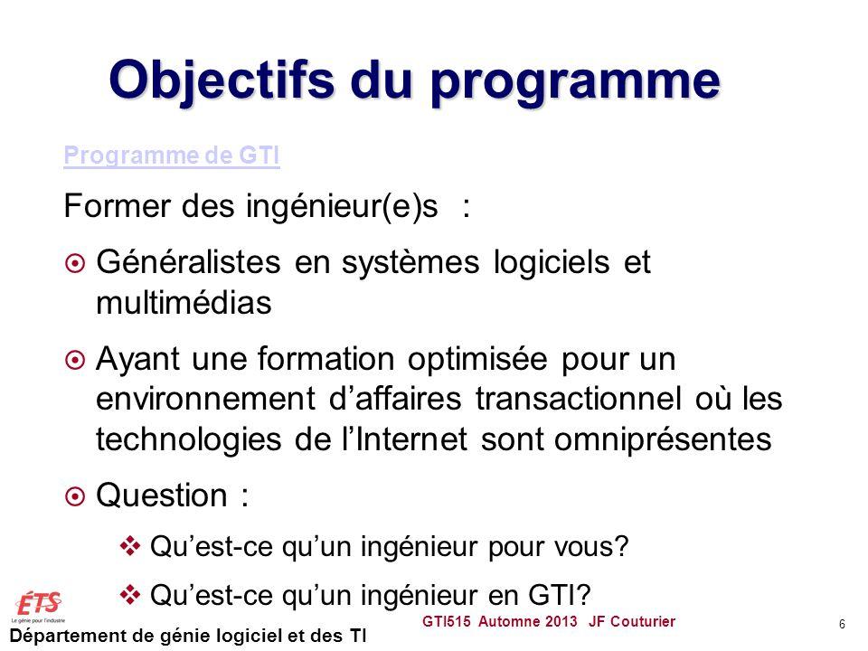 Département de génie logiciel et des TI Objectifs du programme Programme de GTI Former des ingénieur(e)s : Généralistes en systèmes logiciels et multi