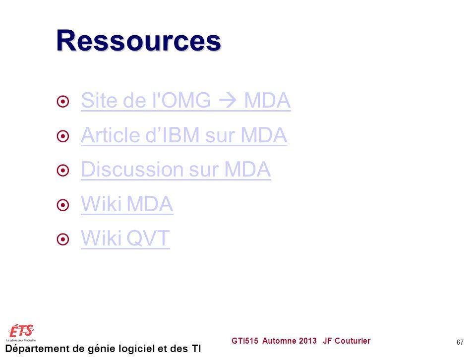 Département de génie logiciel et des TI Ressources Site de l'OMG MDA Site de l'OMG MDA Article dIBM sur MDA Discussion sur MDA Wiki MDA Wiki QVT GTI51