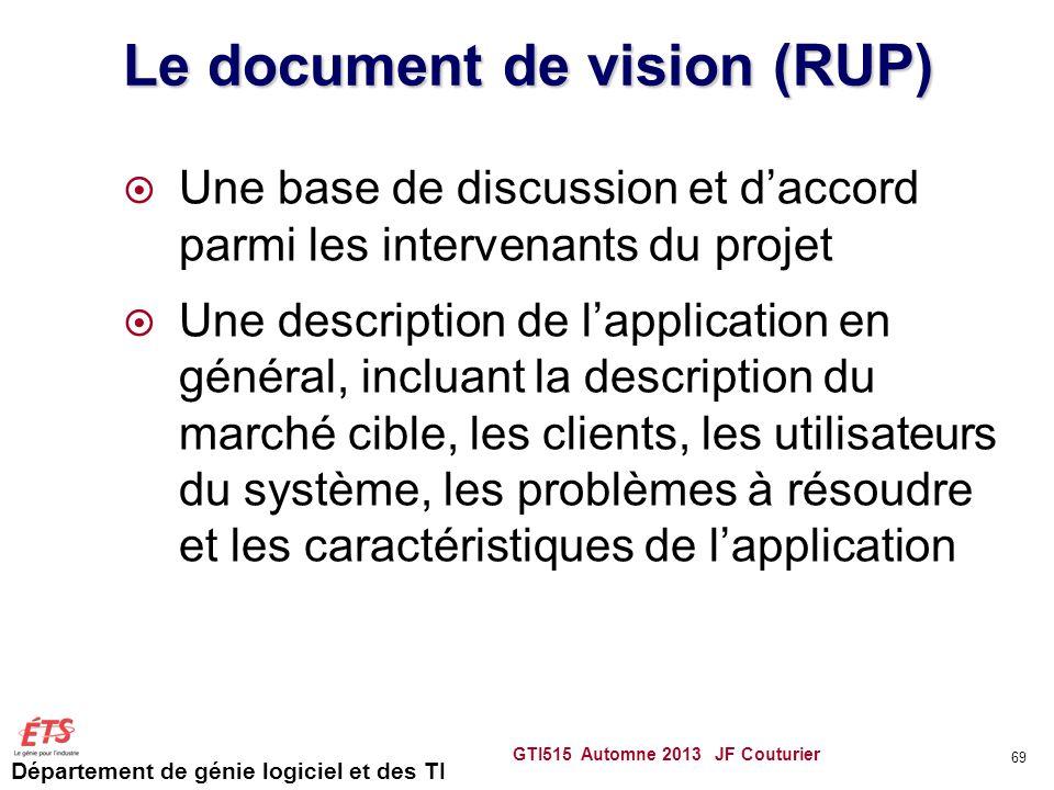 Département de génie logiciel et des TI Le document de vision (RUP) Une base de discussion et daccord parmi les intervenants du projet Une description