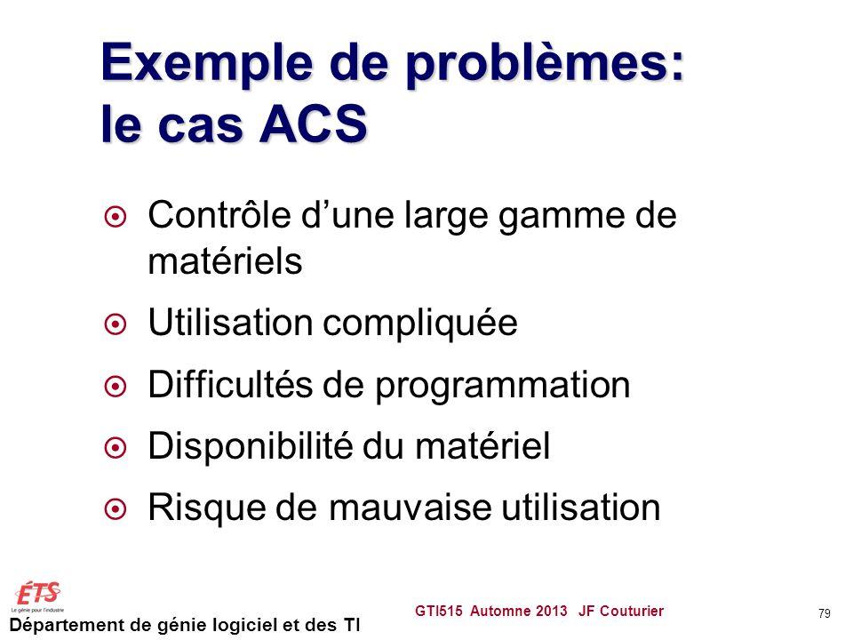 Département de génie logiciel et des TI Exemple de problèmes: le cas ACS Contrôle dune large gamme de matériels Utilisation compliquée Difficultés de