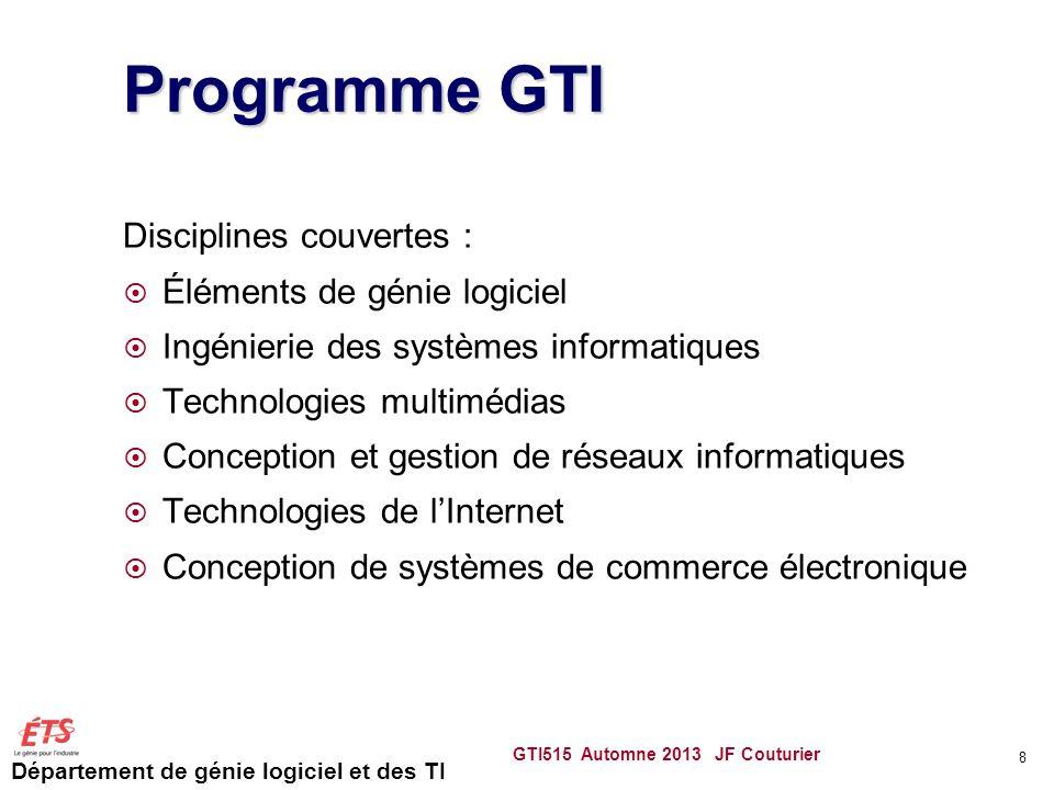 Département de génie logiciel et des TI GTI515 Automne 2013 JF Couturier 9 Génie logiciel Génie des systèmes Systèmes multimédias Réseautique et Internet Cours généraux Stages et cours intégrateurs GTI210 Sécurité des systèmes Génie des TI