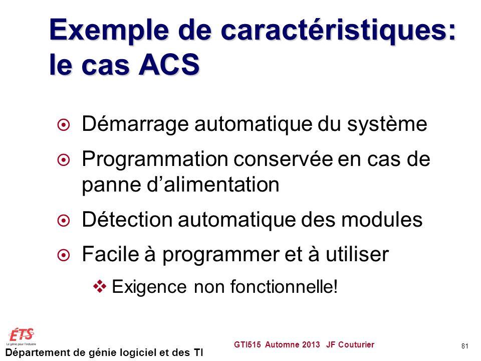 Département de génie logiciel et des TI Exemple de caractéristiques: le cas ACS Démarrage automatique du système Programmation conservée en cas de pan