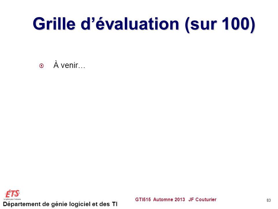 Département de génie logiciel et des TI Grille dévaluation (sur 100) À venir… GTI515 Automne 2013 JF Couturier 83