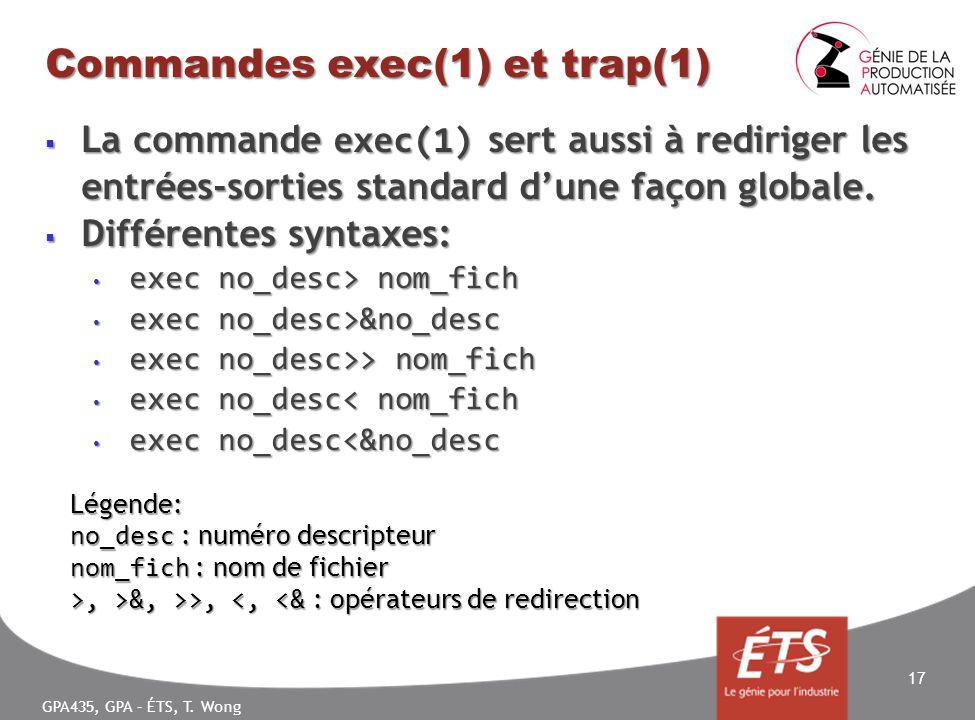 GPA435, GPA – ÉTS, T. Wong Commandes exec(1) et trap(1) La commande exec(1) sert aussi à rediriger les entrées-sorties standard dune façon globale. La
