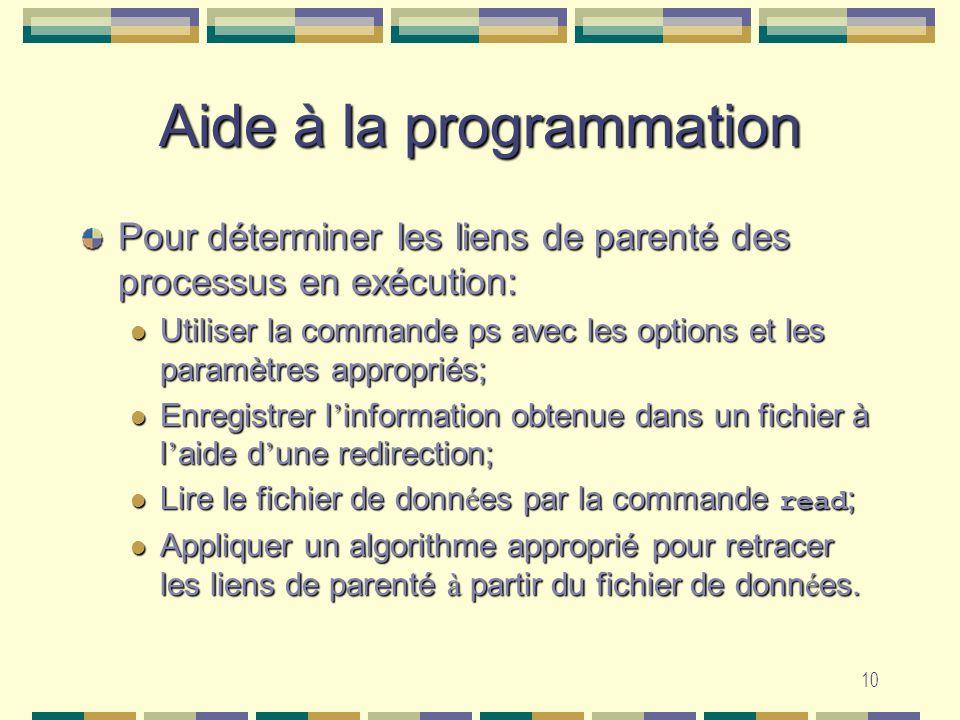 10 Aide à la programmation Pour déterminer les liens de parenté des processus en exécution: Utiliser la commande ps avec les options et les paramètres appropriés; Utiliser la commande ps avec les options et les paramètres appropriés; Enregistrer l information obtenue dans un fichier à l aide d une redirection; Enregistrer l information obtenue dans un fichier à l aide d une redirection; Lire le fichier de donn é es par la commande read ; Lire le fichier de donn é es par la commande read ; Appliquer un algorithme approprié pour retracer les liens de parenté à partir du fichier de donn é es.