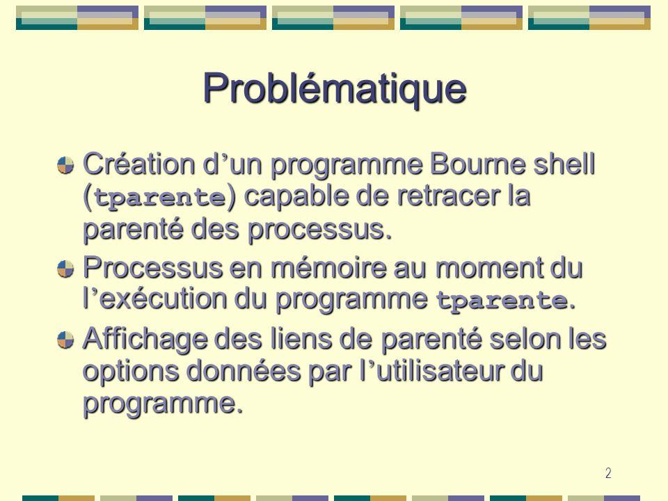 2 Problématique Création d un programme Bourne shell ( tparente ) capable de retracer la parenté des processus. Processus en mémoire au moment du l ex