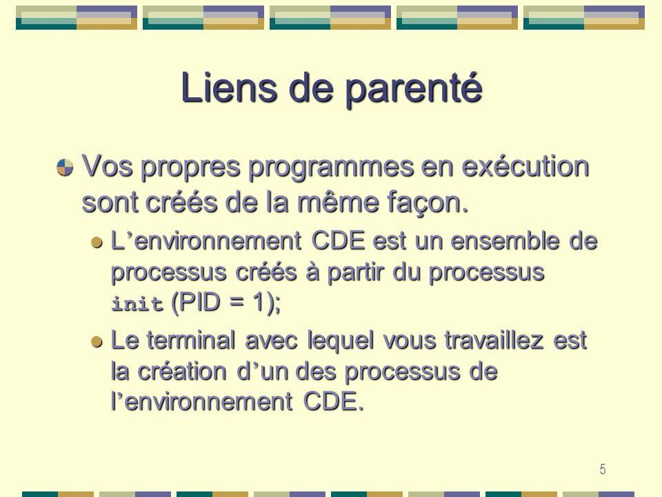 5 Liens de parenté Vos propres programmes en exécution sont créés de la même façon. L environnement CDE est un ensemble de processus créés à partir du