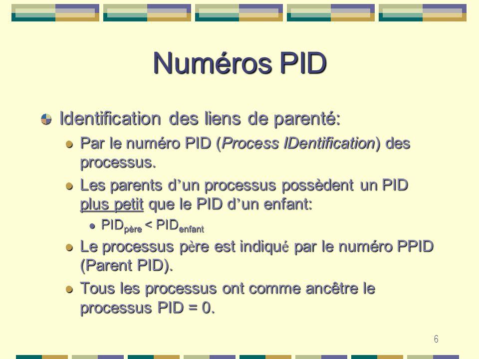 6 Numéros PID Identification des liens de parenté: Par le numéro PID (Process IDentification) des processus. Par le numéro PID (Process IDentification