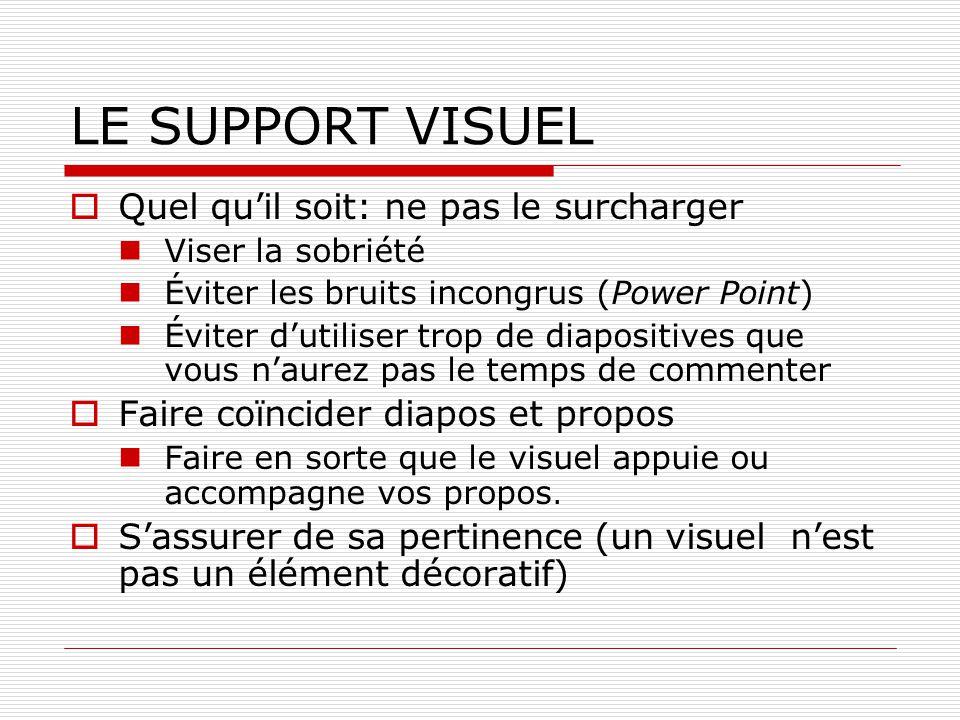 LE SUPPORT VISUEL Quel quil soit: ne pas le surcharger Viser la sobriété Éviter les bruits incongrus (Power Point) Éviter dutiliser trop de diapositiv