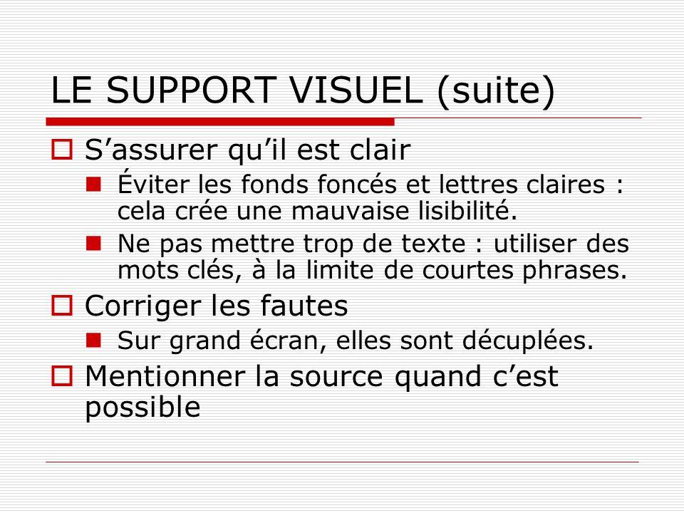 LE SUPPORT VISUEL (suite) Sassurer quil est clair Éviter les fonds foncés et lettres claires : cela crée une mauvaise lisibilité. Ne pas mettre trop d