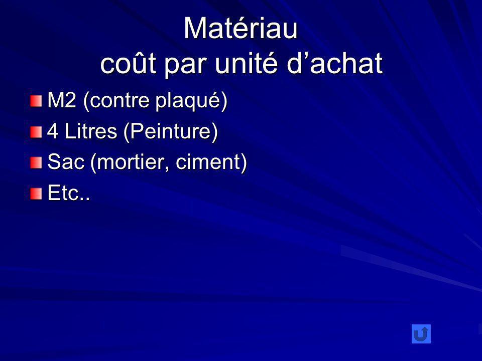 Matériau coût par unité dachat M2 (contre plaqué) 4 Litres (Peinture) Sac (mortier, ciment) Etc..
