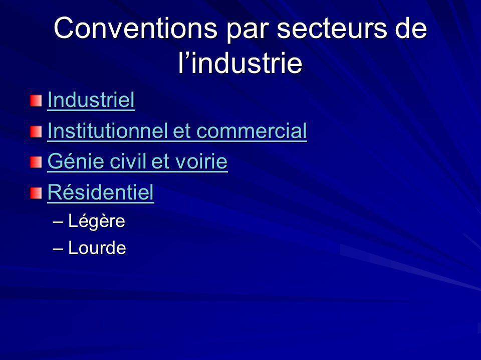 Conventions par secteurs de lindustrie Industriel Institutionnel et commercial Institutionnel et commercial Génie civil et voirie Génie civil et voirie Résidentiel –Légère –Lourde