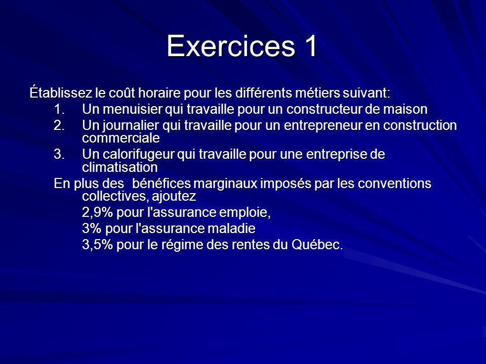 Exercice 2 Vous devez exécuter des travaux de menuiserie sur un projet de construction d un centre d achat dans la région de Trois rivières et votre entreprise a son siège social à Montréal.