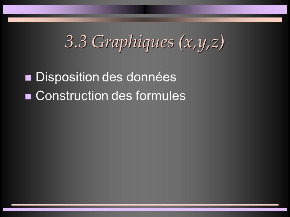 3.2 Graphiques par catégories n Graphique histogramme 3D n Graphique courbe 3D n Passage de 2D à 3D n Exercices: aires3D, barres3D