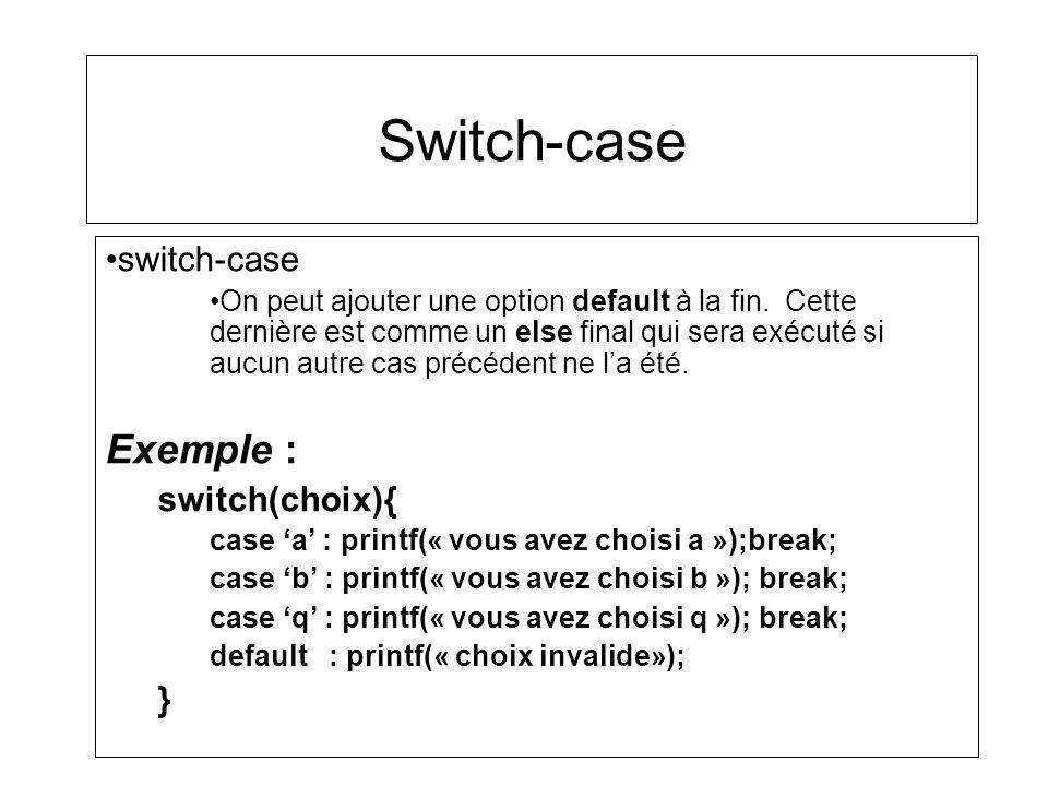 Switch-case switch-case On peut ajouter une option default à la fin. Cette dernière est comme un else final qui sera exécuté si aucun autre cas précéd