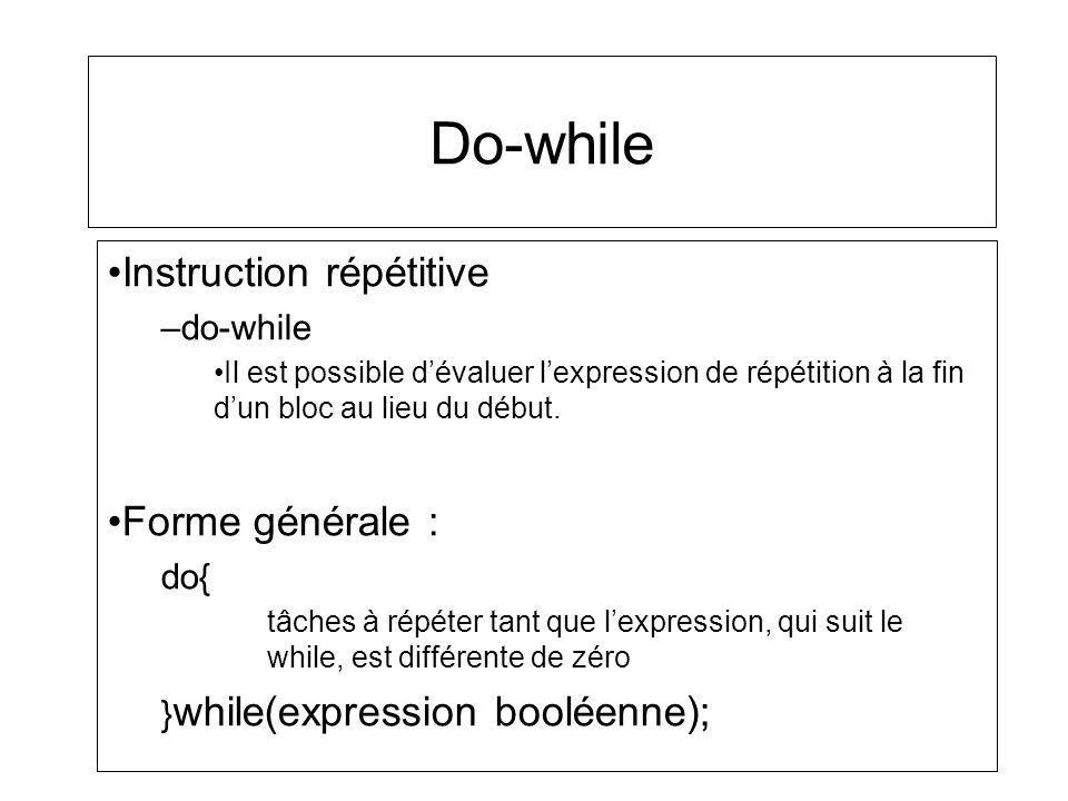 Do-while Instruction répétitive –do-while Il est possible dévaluer lexpression de répétition à la fin dun bloc au lieu du début. Forme générale : do{