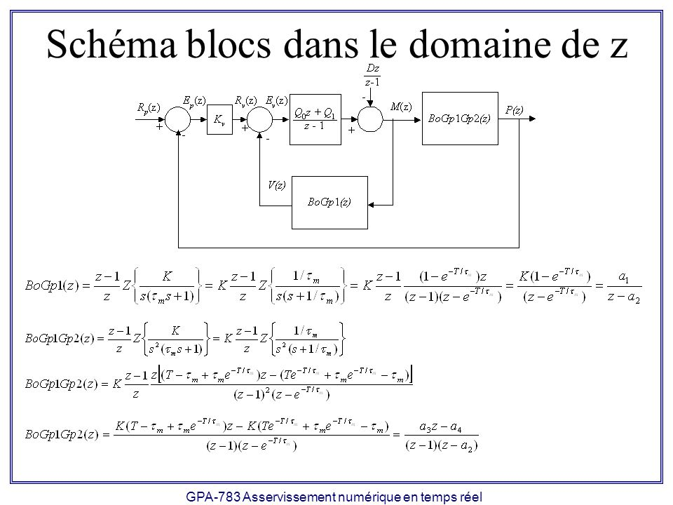 GPA-783 Asservissement numérique en temps réel Schéma blocs dans le domaine de z
