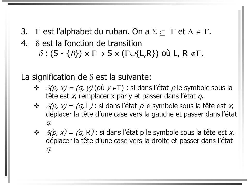 Définition Une machine de Turing est un sixtuplet ( S,,,,, h) où 1.S est un ensemble fini détats. 2. est lalphabet de la machine ou alphabet dentrée (