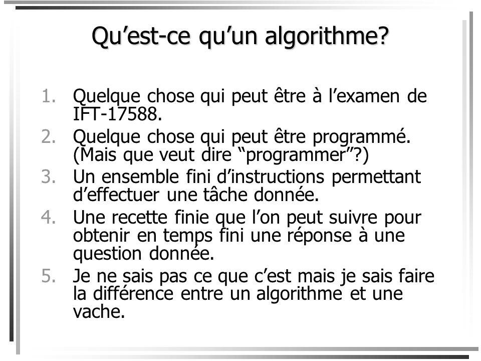 Quest-ce quun algorithme.1.Quelque chose qui peut être à lexamen de IFT-17588.