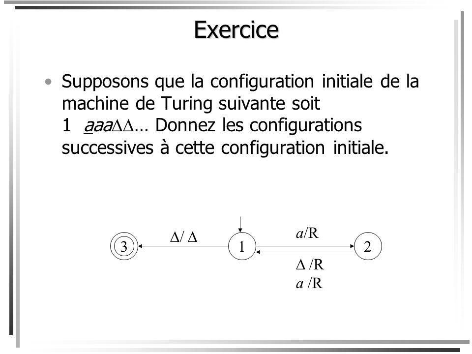 Supposons que la configuration initiale soit abb a … Les configurations successives sont alors: h a/R b/R /a État Ruban abb a … abb a … abb a … abb a