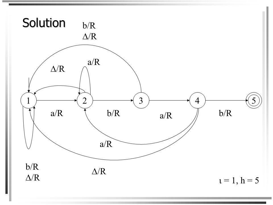 Exercice Construisez une machine de Turing M = (S, {a, b}, {a, b, },,, h) qui arrête si et seulement si le patron abab se trouve sur le ruban à droite