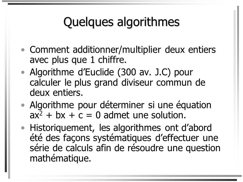 Quest-ce quun algorithme? 1.Quelque chose qui peut être à lexamen de IFT-17588. 2.Quelque chose qui peut être programmé. (Mais que veut dire programme