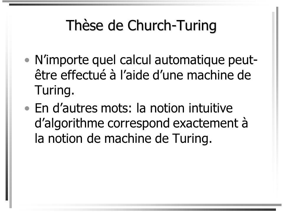 Thèse de Church-Turing Facile à croire: tout programme en C peut être réécrit comme un programme en Java qui fait la même tâche. Facile à croire: tout