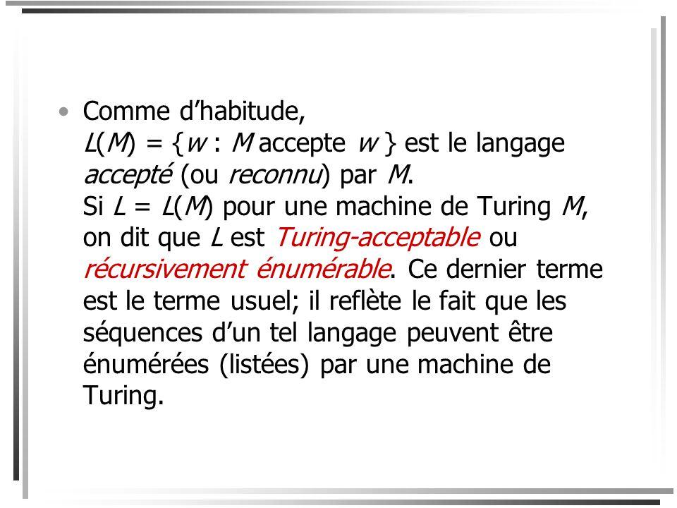 Définition de la reconnaissance Soit L un langage sur et w *. La séquence w est acceptée (ou reconnue) par la machine de Turing M = (S,,,,, h) si et s