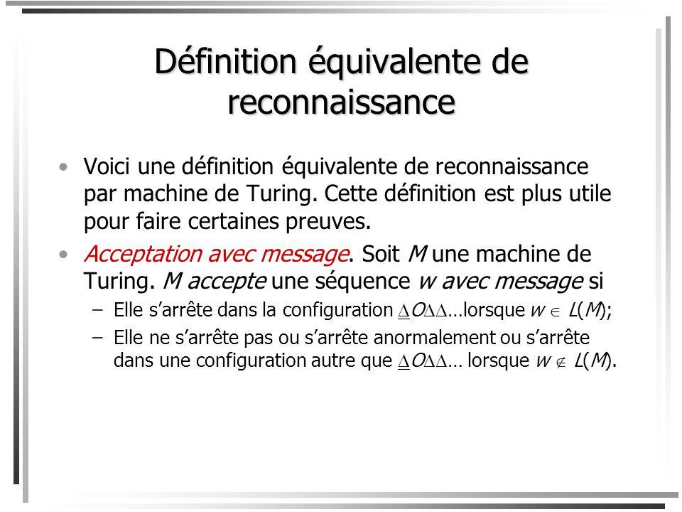 Comme dhabitude, L(M) = {w : M accepte w } est le langage accepté (ou reconnu) par M. Si L = L(M) pour une machine de Turing M, on dit que L est Turin