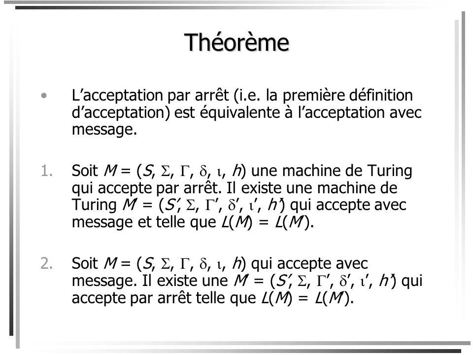 Définition équivalente de reconnaissance Voici une définition équivalente de reconnaissance par machine de Turing. Cette définition est plus utile pou